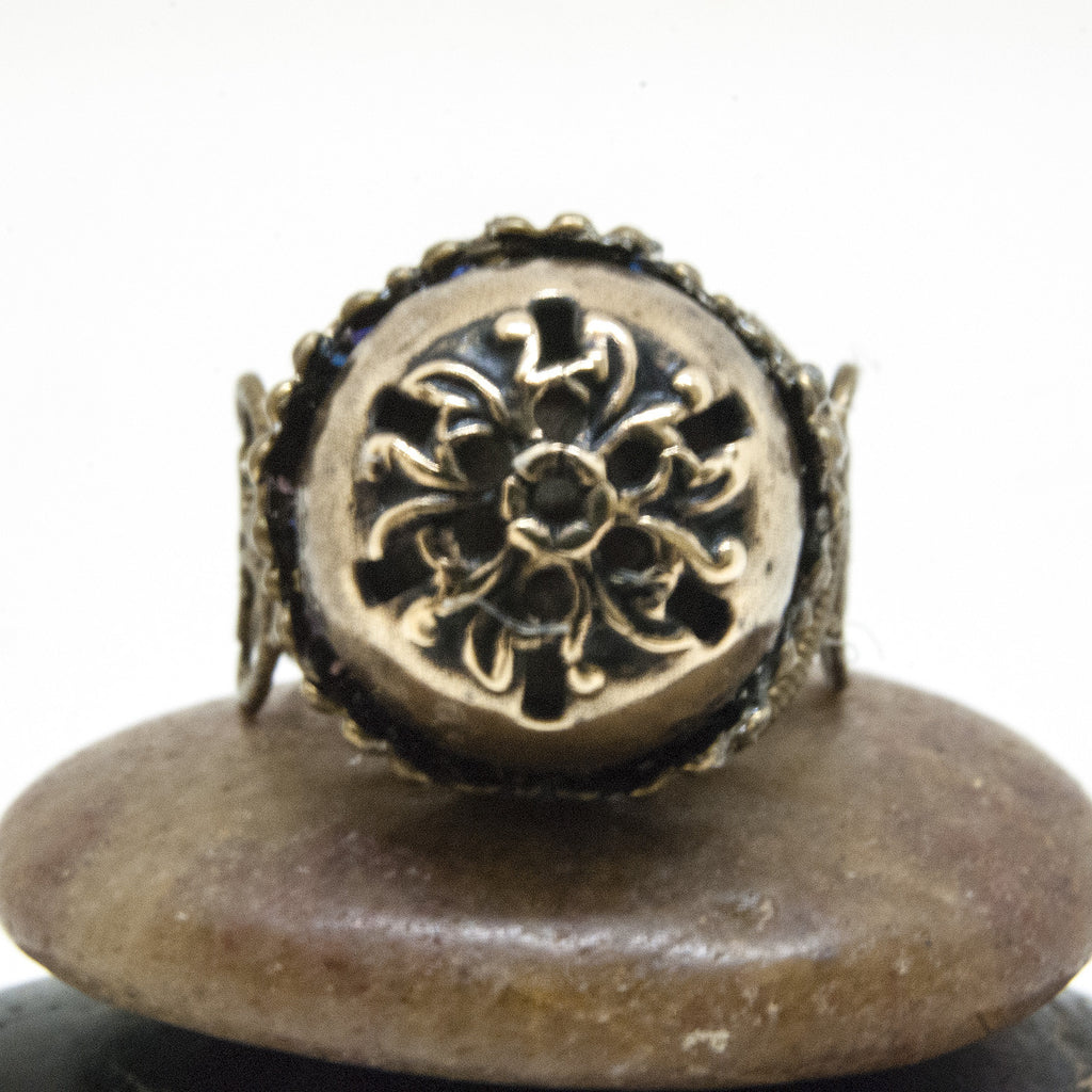 Vintage Brass Dome Button Ring