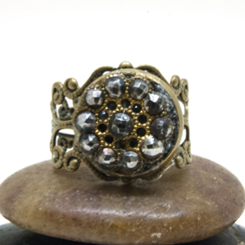 Antique Brass Button Steel Cut Ring