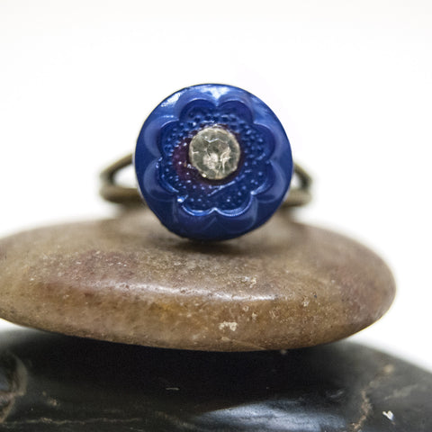 Antique Lapis Blue Flower Button Ring