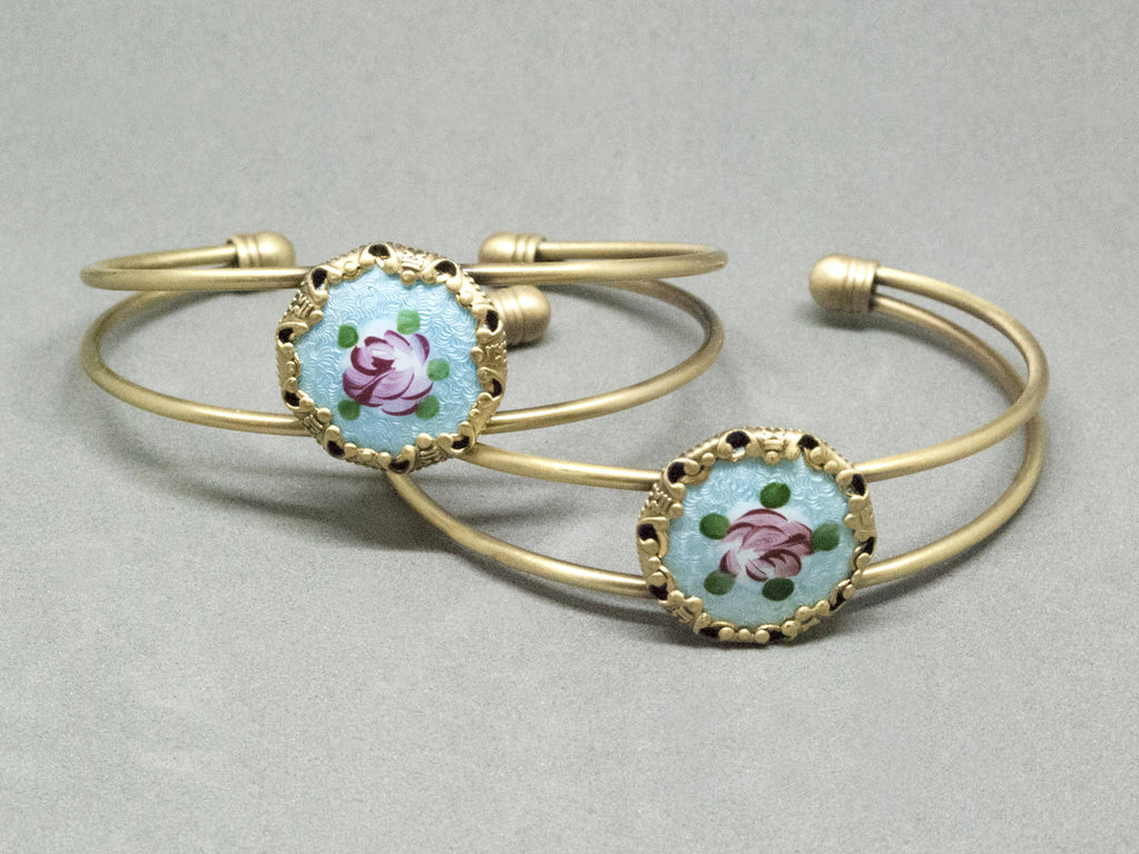 Antique Hand Painted Rose Button Bracelet