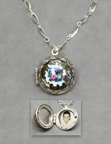Antique Rose & Butterfly Button Locket