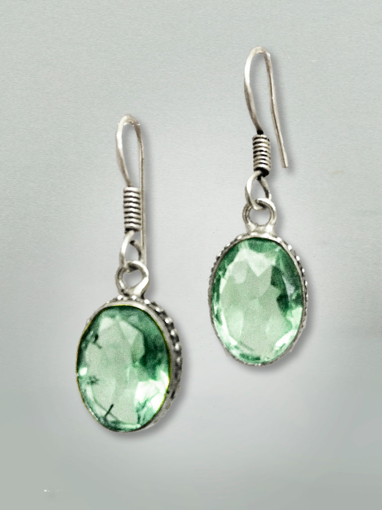 Silver Green Gem Earrings