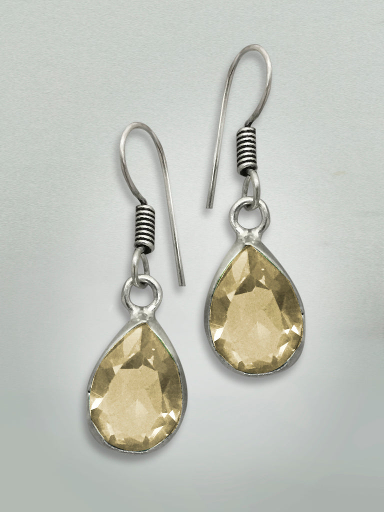 Silver Topaz Gem Earrings