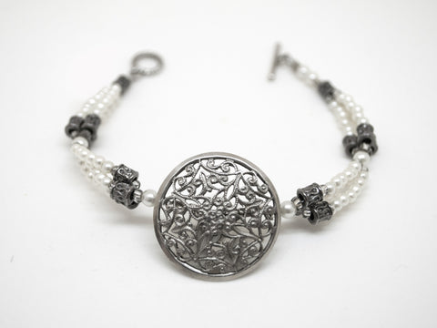Antique Silver Filigree Button