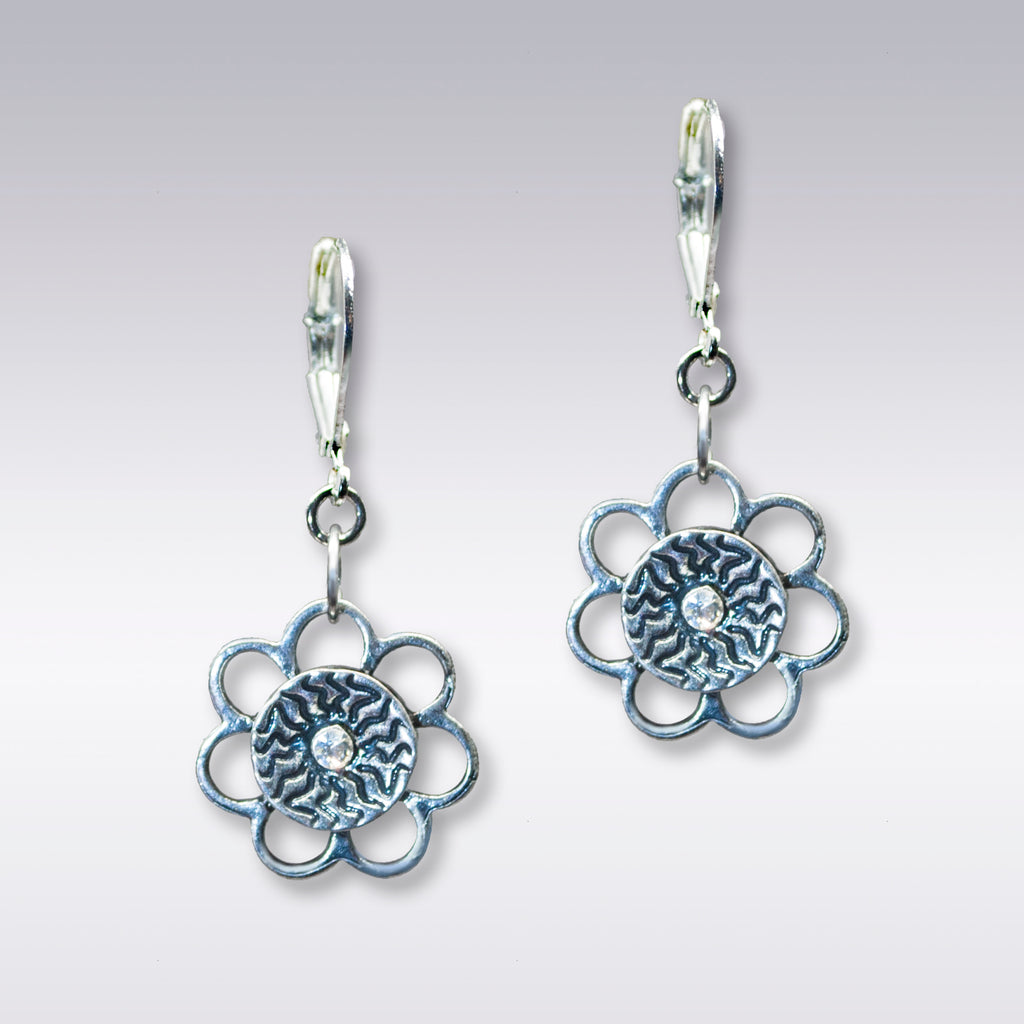 Silver Flower and Crystal Earrings