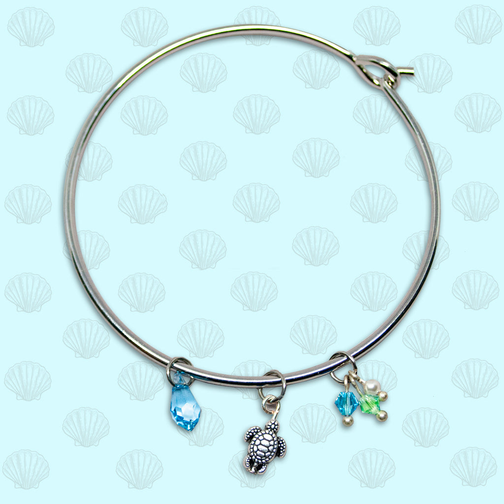 SeaGems Silver Turtle Bangle