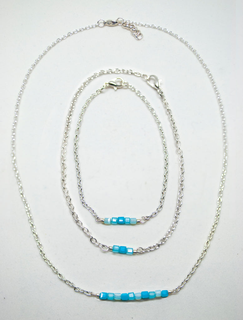 Turquoise Sparkle Czech Glass Cube Necklace, Bracelet & Anklet