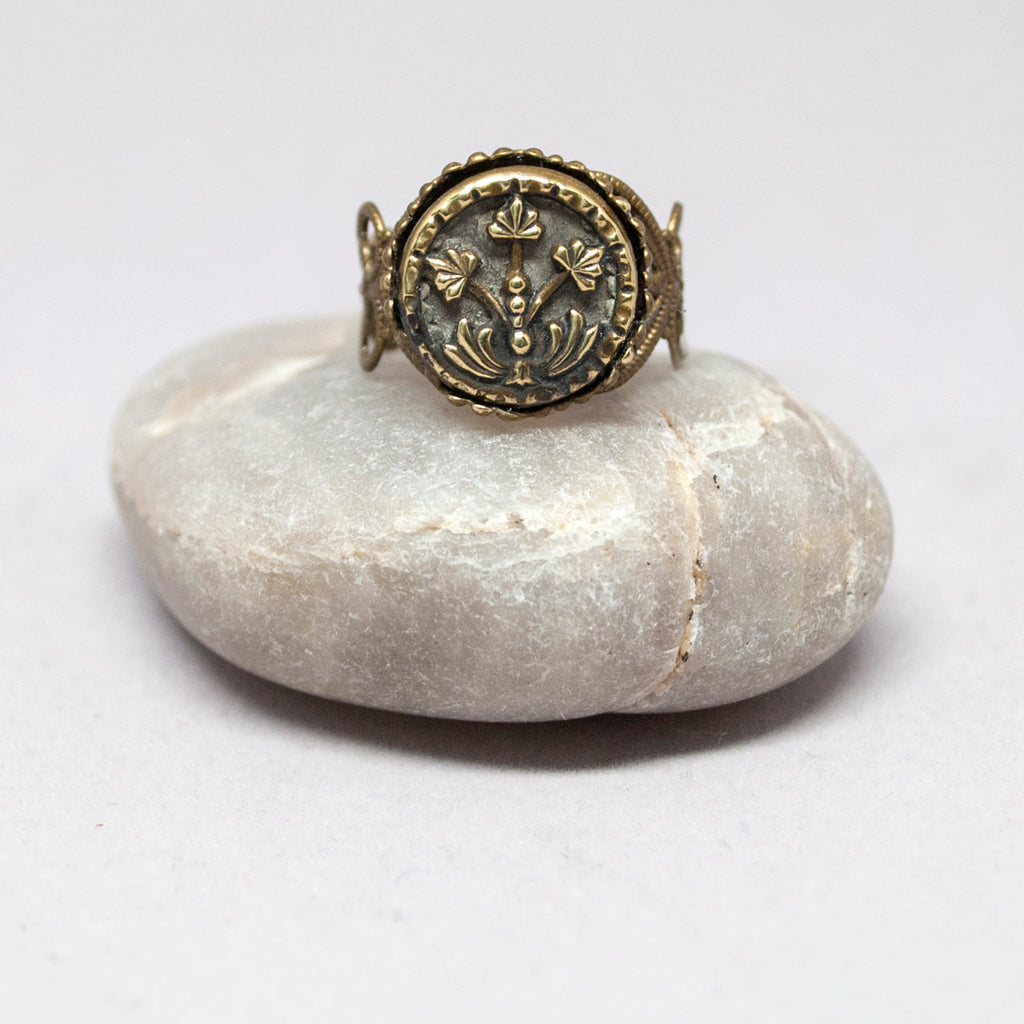 Vintage Brass Cycads Button Ring
