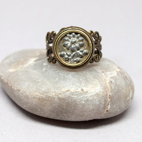 Vintage Brass & Pewter Daisy Ring