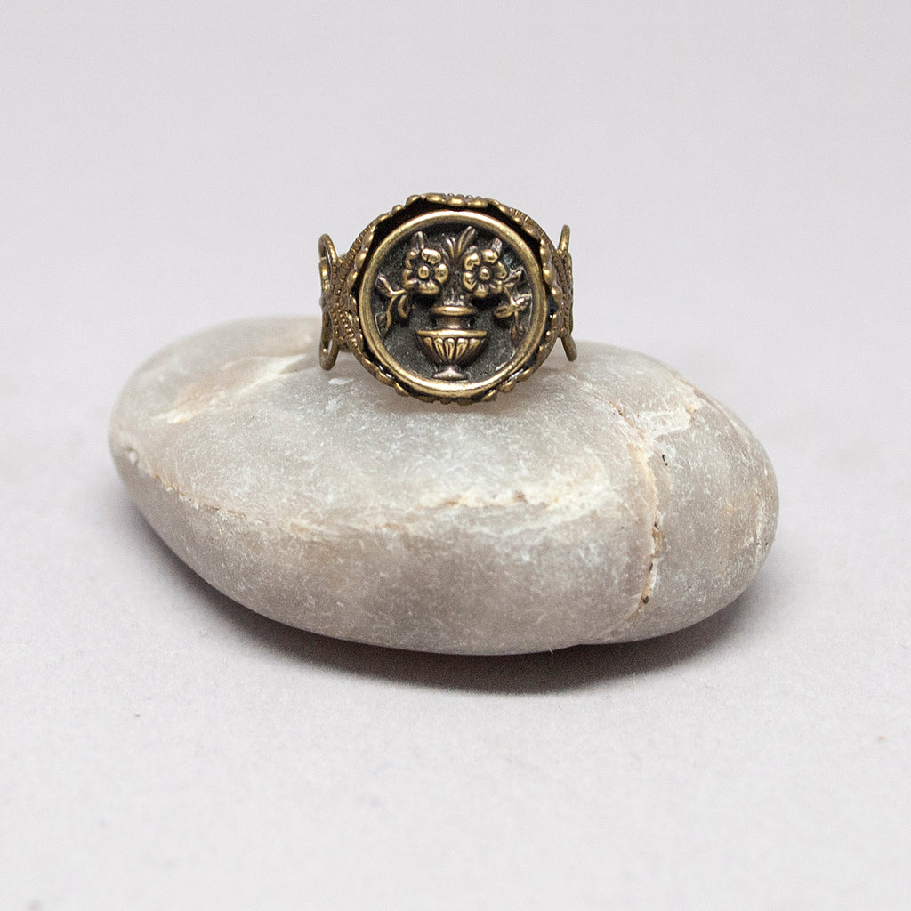 Vintage Brass Vase Ring