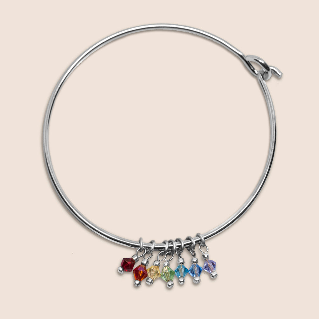 Yoga Chakra Crystal Silver Bangle