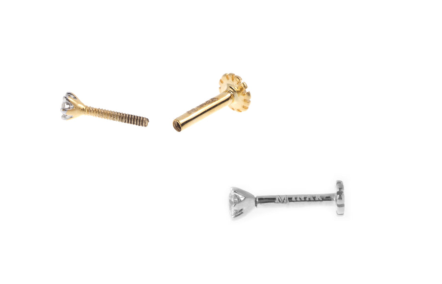 18ct Gold Diamond Screw Back Nose Stud (0.02ct - 0.09ct)