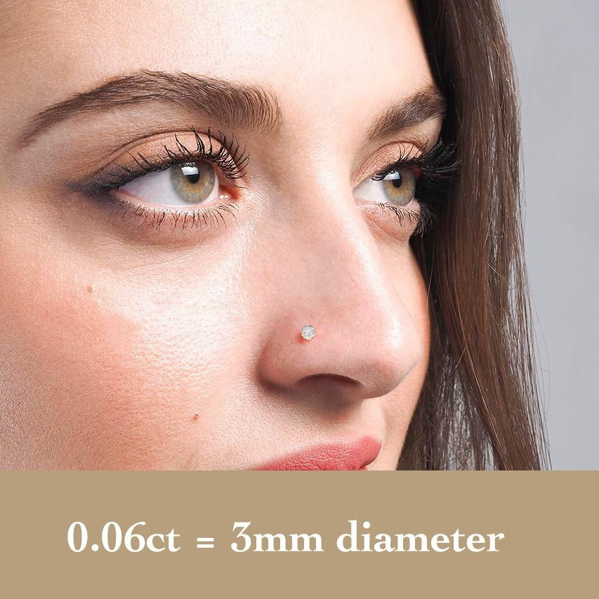 18ct Gold Diamond Wire Coil Back Nose Stud (0.01ct - 0.09ct)