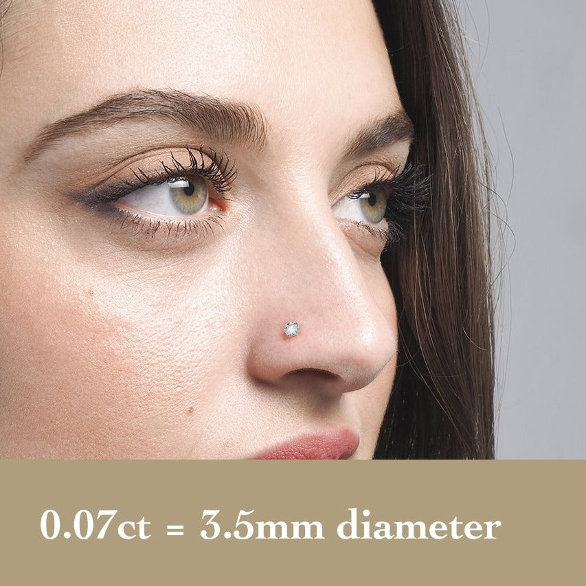 18ct Gold Diamond L Shaped Back Nose Stud (0.01ct - 0.09ct)