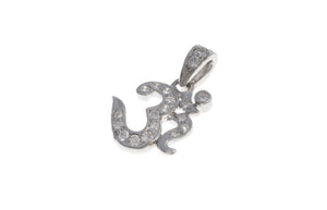 18ct White Gold Diamond Om Pendant, Minar Jewellers - 1
