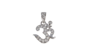 18ct White Gold Diamond Om Pendant, Minar Jewellers - 2