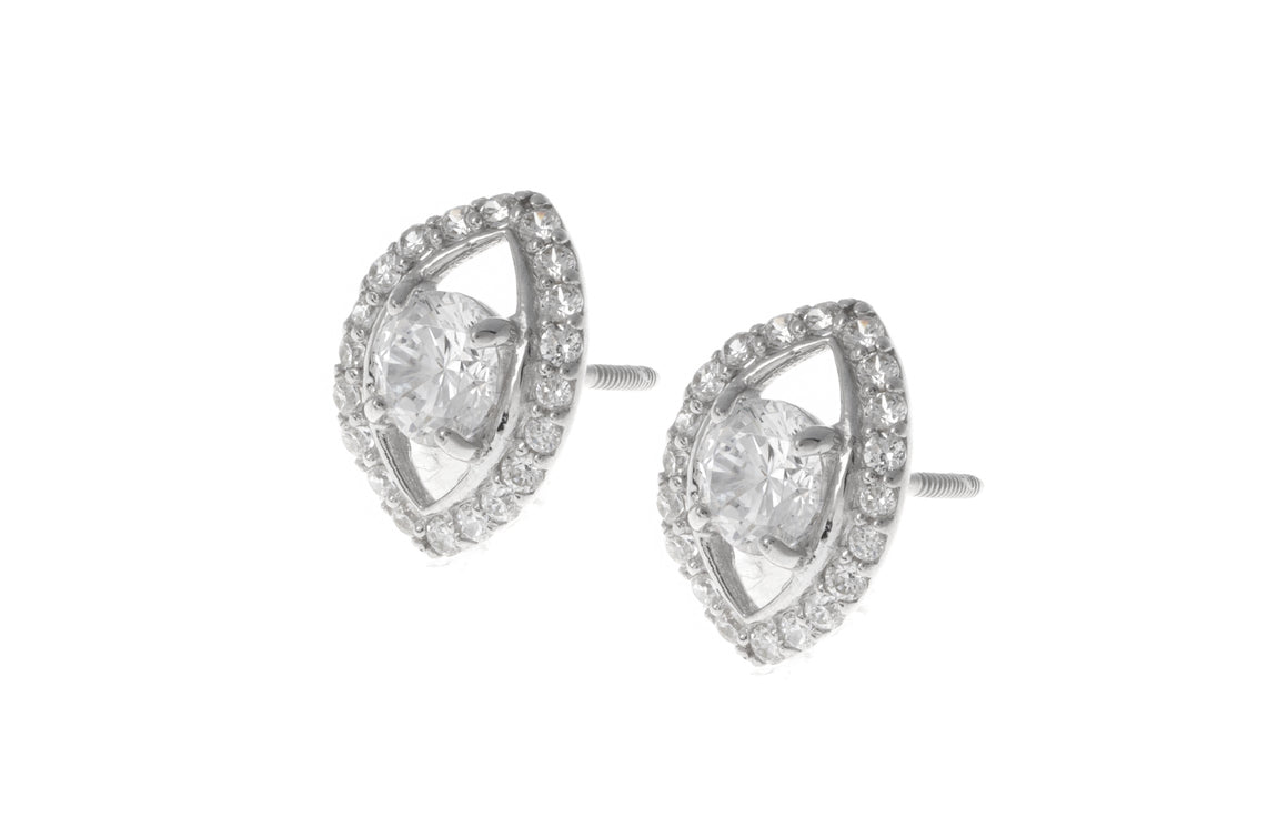 18ct White Gold Earrings set with Cubic Zirconia stones (E-2956)