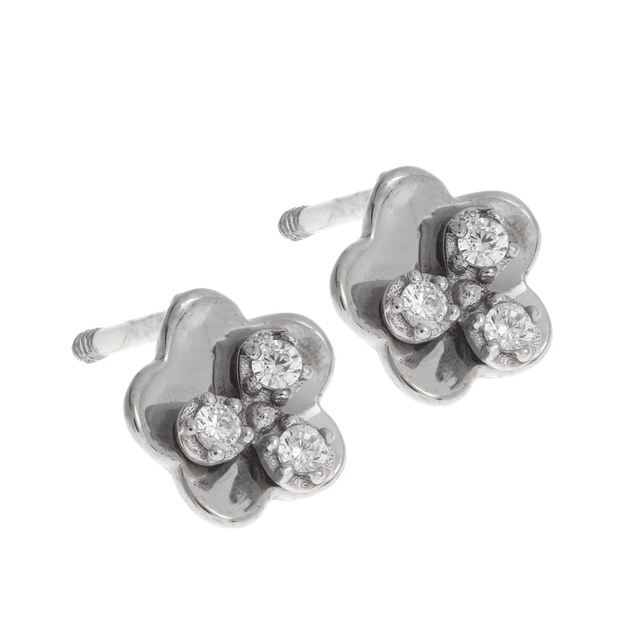 18ct White Gold Earrings set with Cubic Zirconia stones (0.8g) (E-2964)