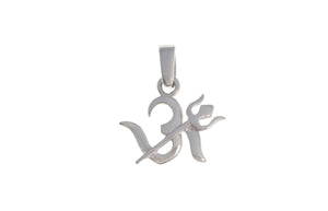 18ct White Gold Om & Trishul Pendant, Minar Jewellers - 2