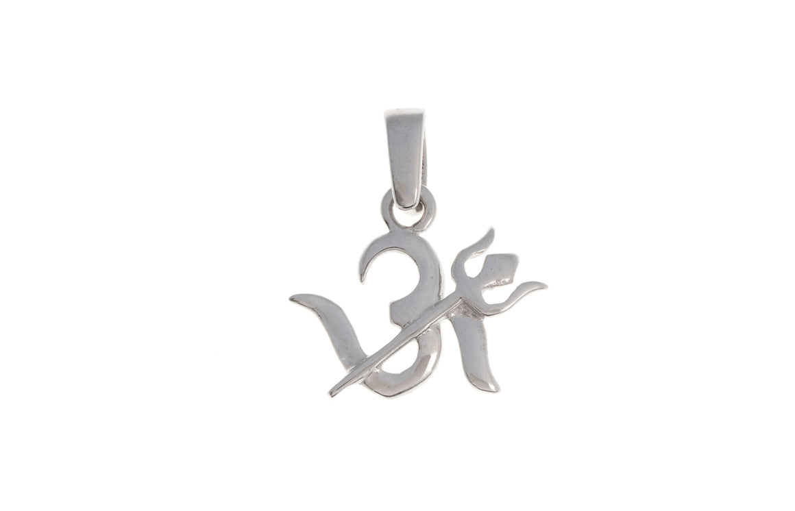 18ct White Gold Om & Trishul Pendant, Minar Jewellers - 1