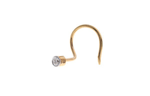 18ct Yellow Gold Diamond Rub Over Wire Back Nose Stud (Front View)