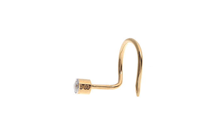 18ct Yellow Gold Diamond Rub Over Wire Back Nose Stud (Side View)