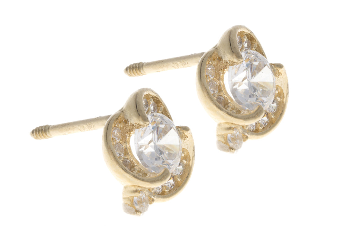 18ct Gold Earrings set with Cubic Zirconia stones (E-2960)