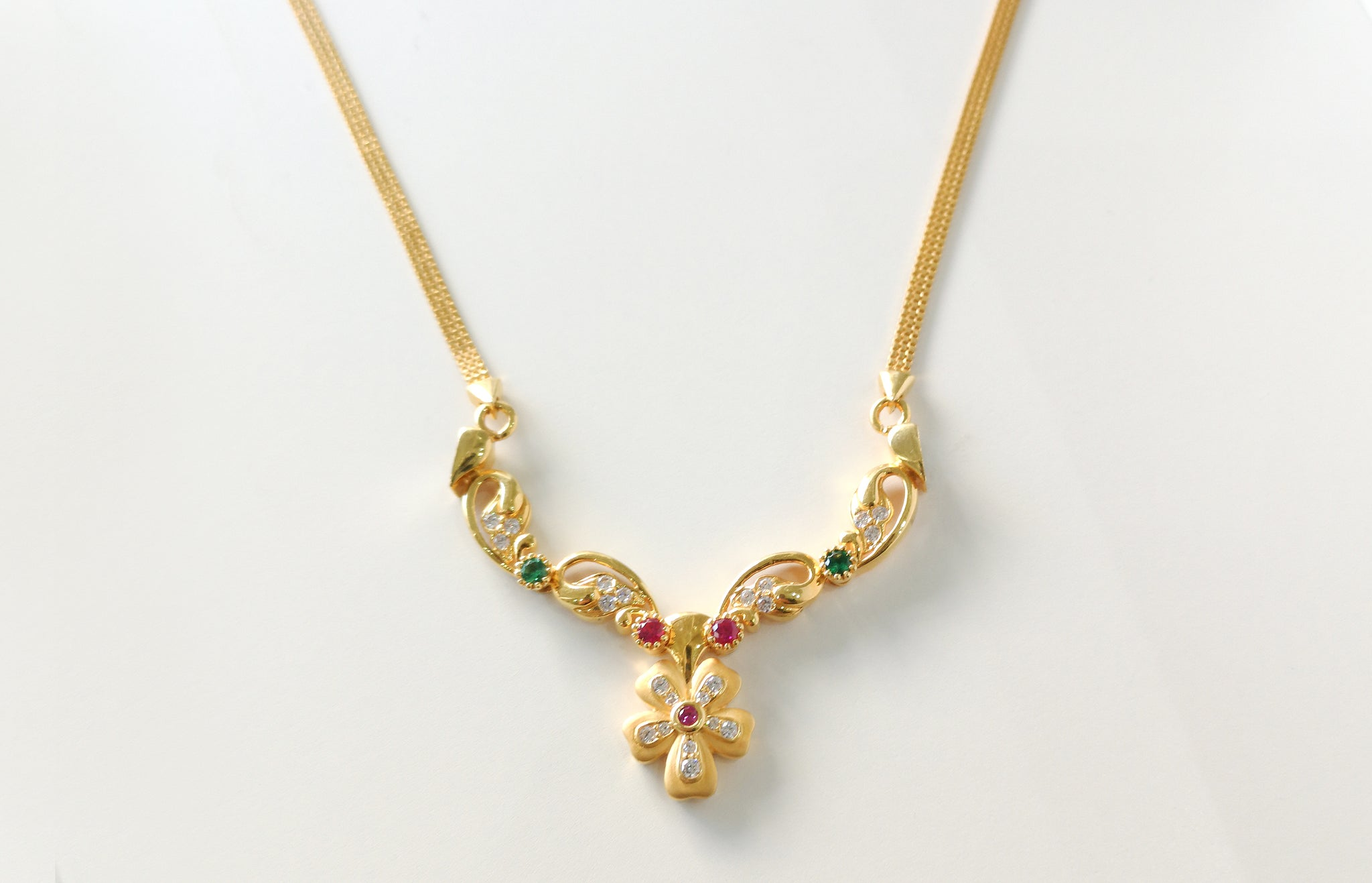 22ct Gold Cubic Zirconia and Coloured Stone Necklace 22COMXCARE