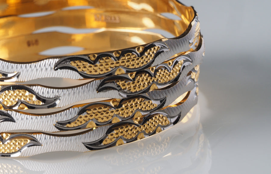 22ct Yellow Gold and Rhodium Plated Bangles (22DUBACNMD)