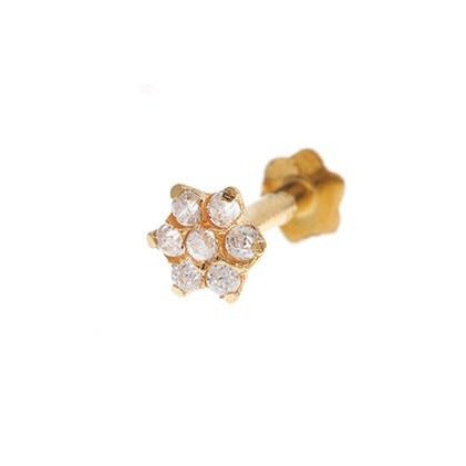 18ct Yellow Gold Nose Stud set with Cubic Zirconia Stones NS-5802