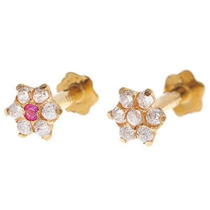 18ct Yellow Gold Nose Stud set with Cubic Zirconia Stones (NS-5802)