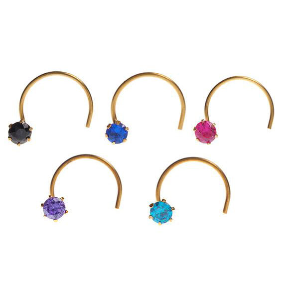 18ct Gold Nose Stud Wire Coil Back with Cubic Zirconia Stone NS-4677