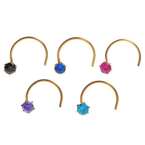 18ct Gold Nose Stud Wire Coil Back with Cubic Zirconia Stone (NS-4677)