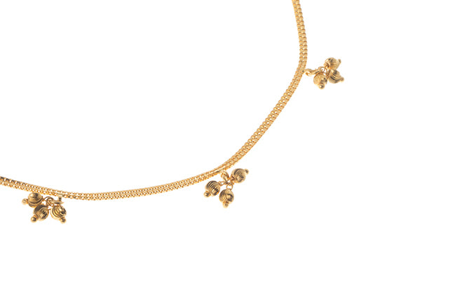 22ct Gold Anklet with Ghughri Bell Charms (8.6g) A-5979