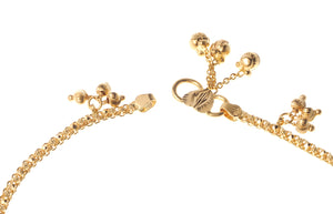 22ct Gold Hallmarked Anklets with Ghughri Bell Charms (A-7105) - Close Up_2