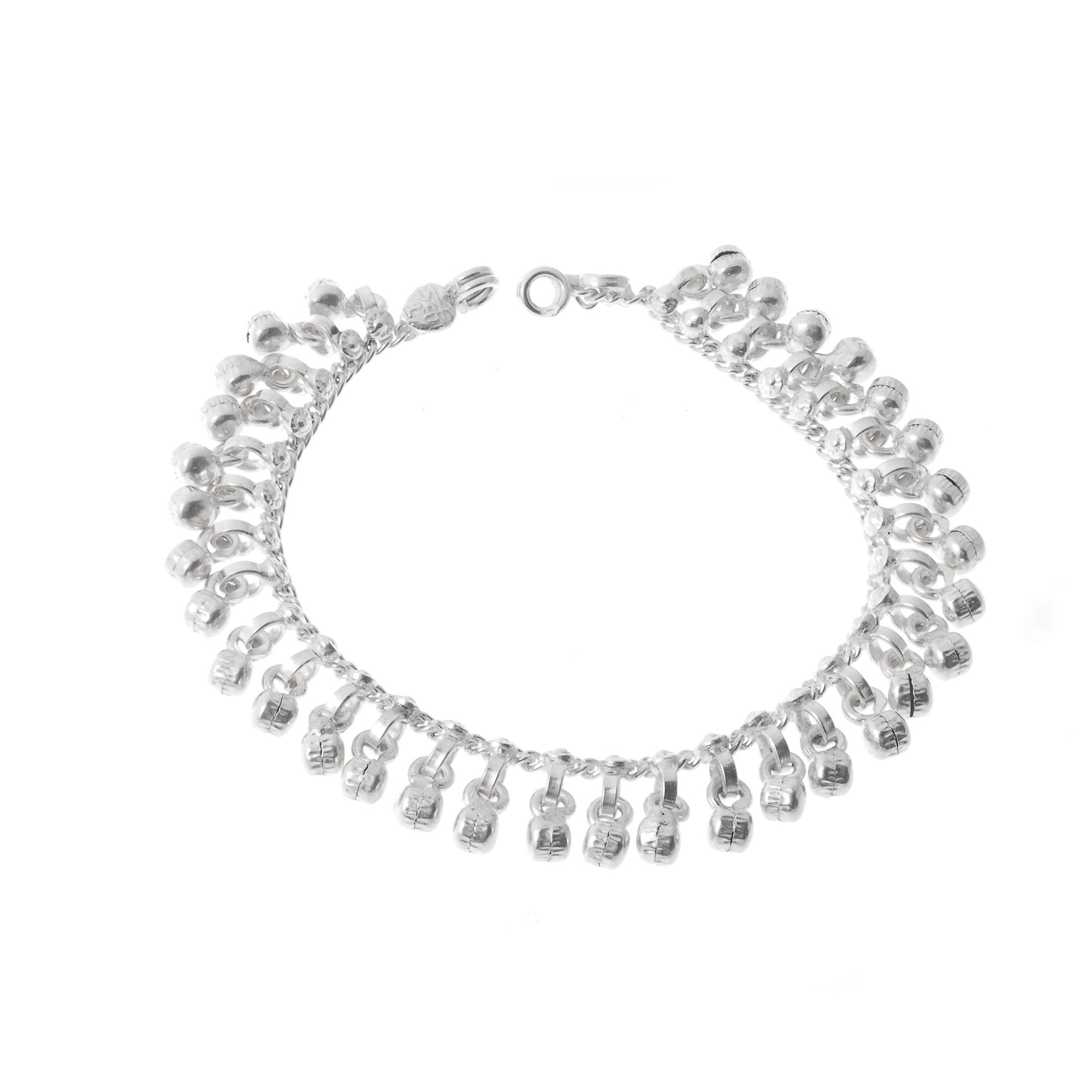 Sterling Silver Anklets with Ghughri Bell Charms for Children (A-7147) - Single