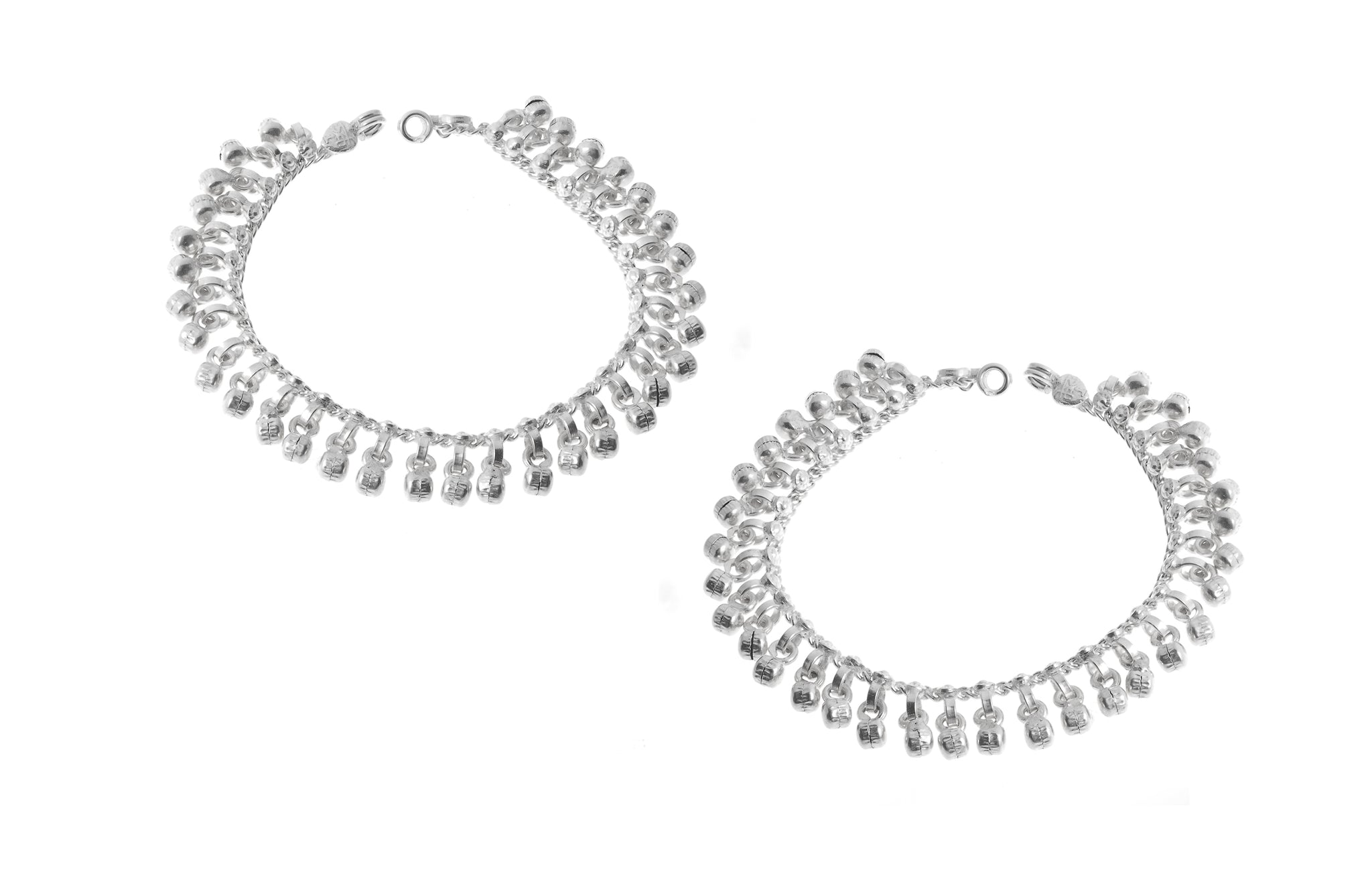 Sterling Silver Anklets with Ghughri Bell Charms for Children (A-7147) - Pair