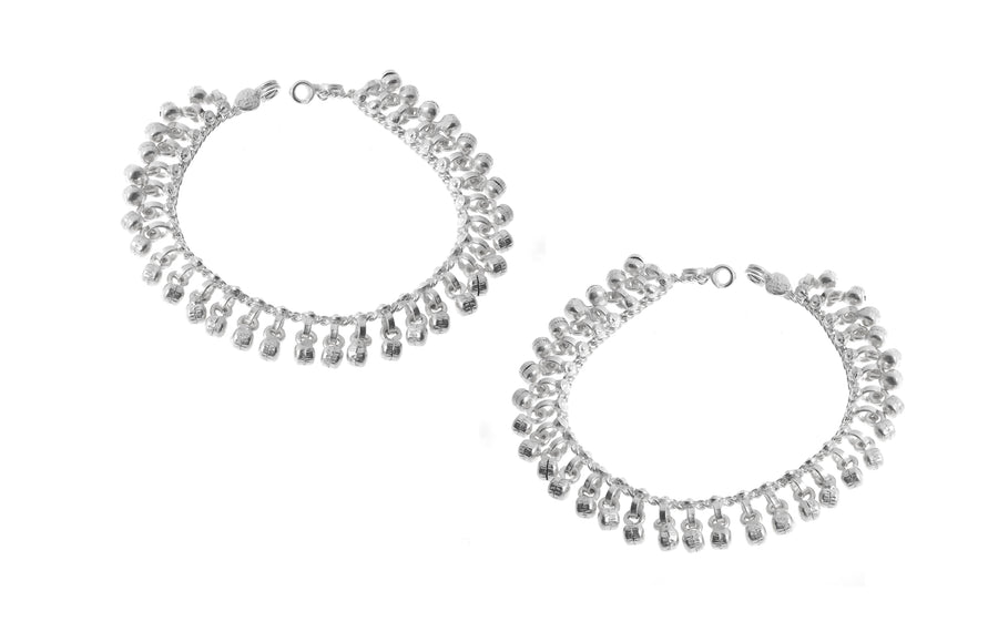 Sterling Silver Anklets with Ghughri Bell Charms for Children A-7147