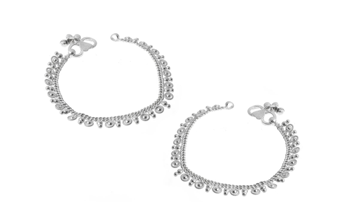 Sterling Silver Baby Anklets with Ghughri Bell Charms for Children (A-7148)
