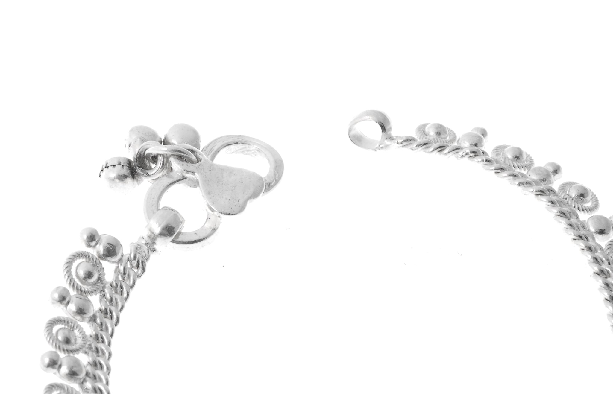 Sterling Silver Anklets with Ghughri Bell Charms for Babies A-7148