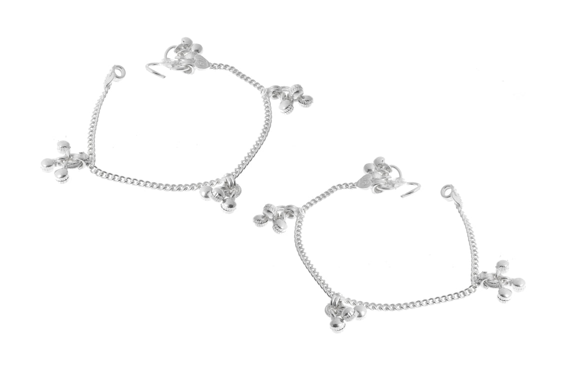 Sterling Silver Baby Anklets with Ghughri Bell Charms for Children (A-7149)