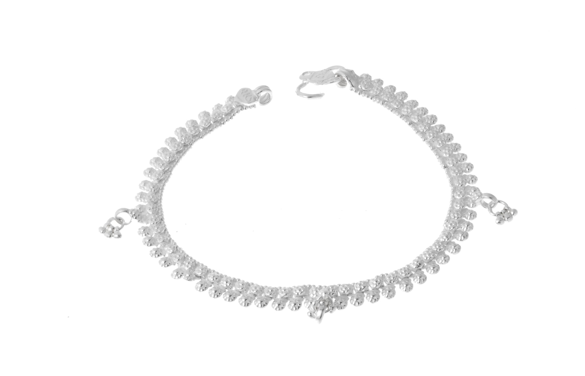 Sterling Silver Anklets with Ghughri Bell Charms for Children (A-7151) - Single