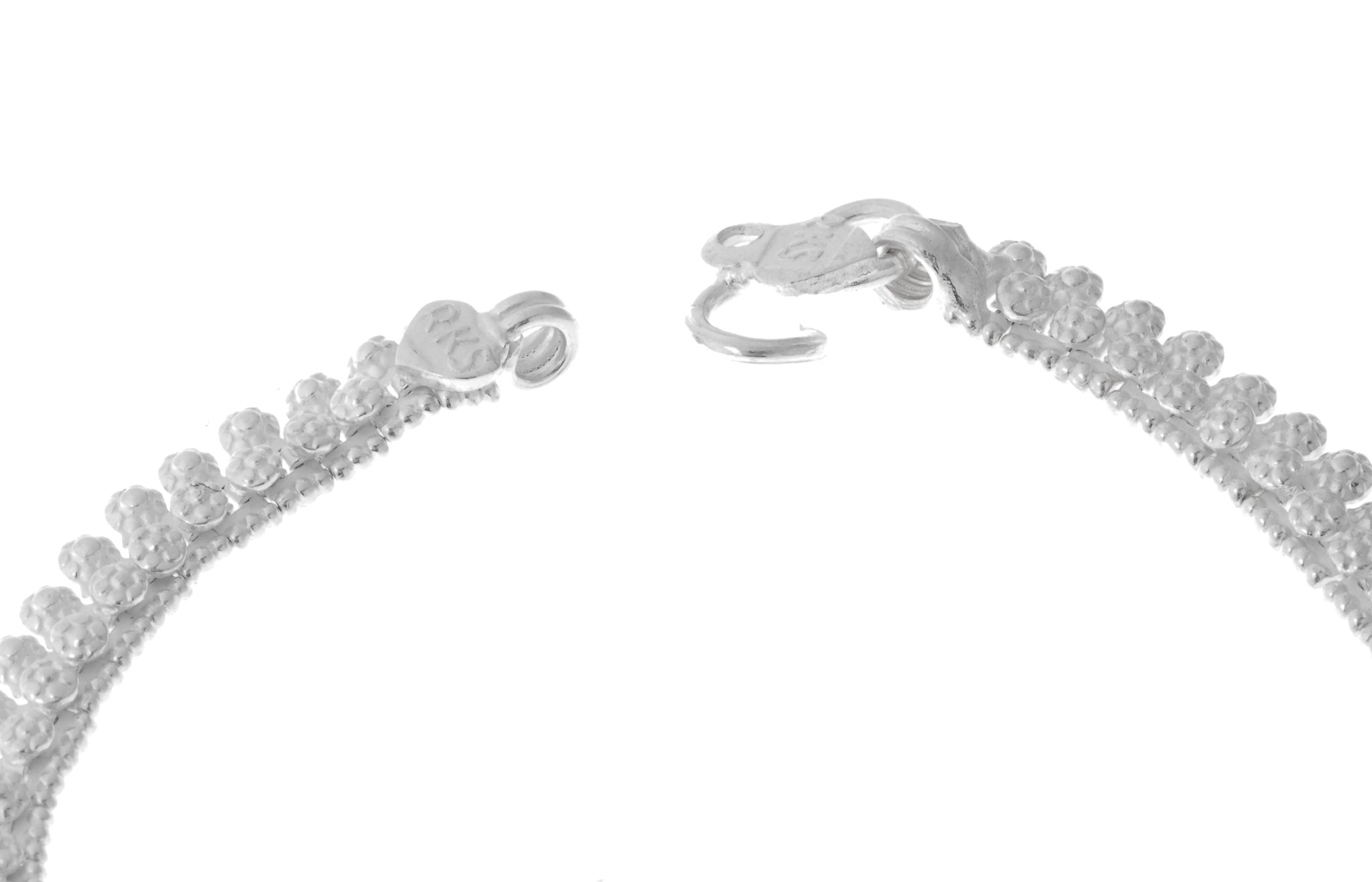 Sterling Silver Anklets with Ghughri Bell Charms for Children (A-7151) - Close Up_2