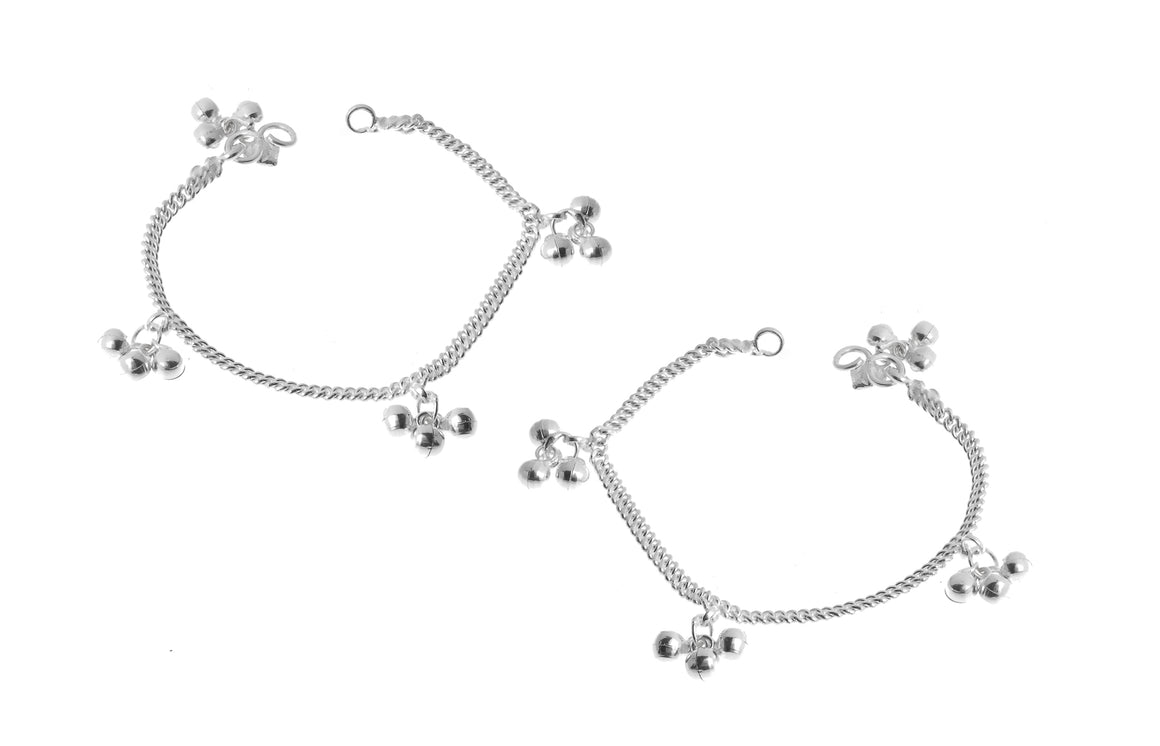 Sterling Silver Baby Anklets with Ghughri Bell Charms for Children (A-7152)