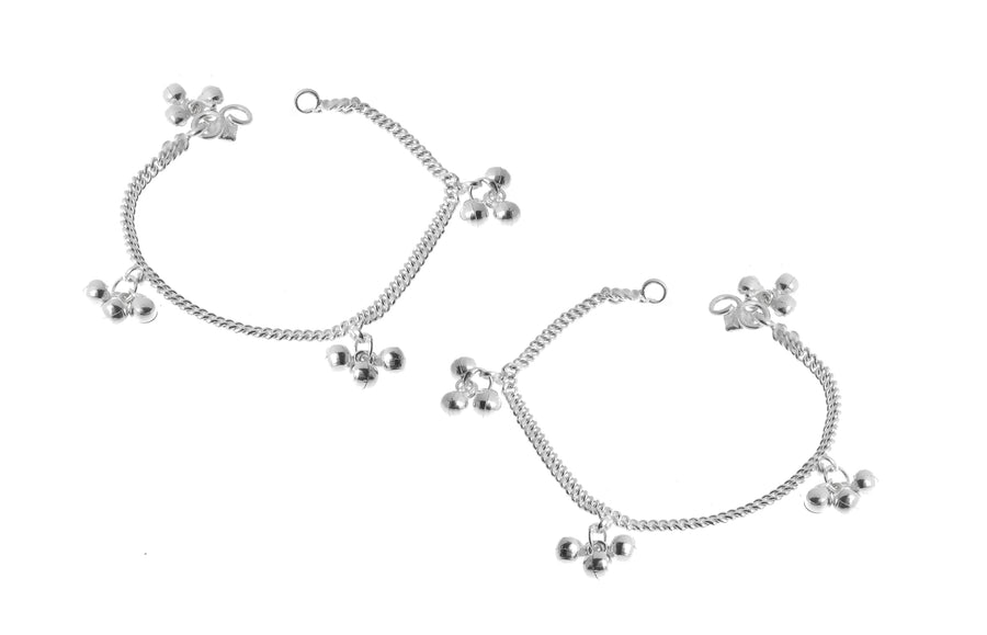 Sterling Silver Anklets with Ghughri Bell Charms for Children (A-7152) - Single