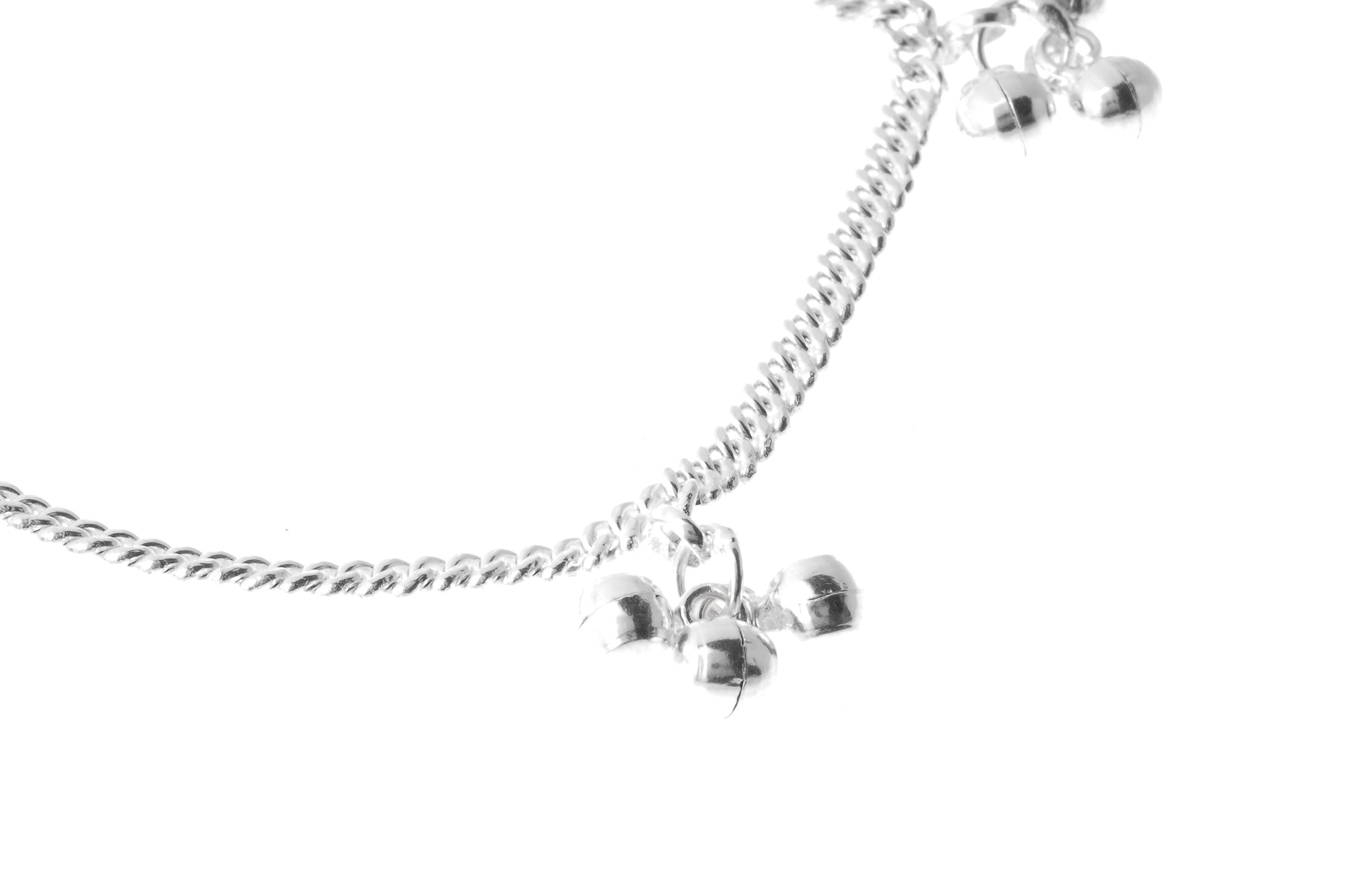Sterling Silver Anklets with Ghughri Bell Charms for Children (A-7152) - Close Up_1