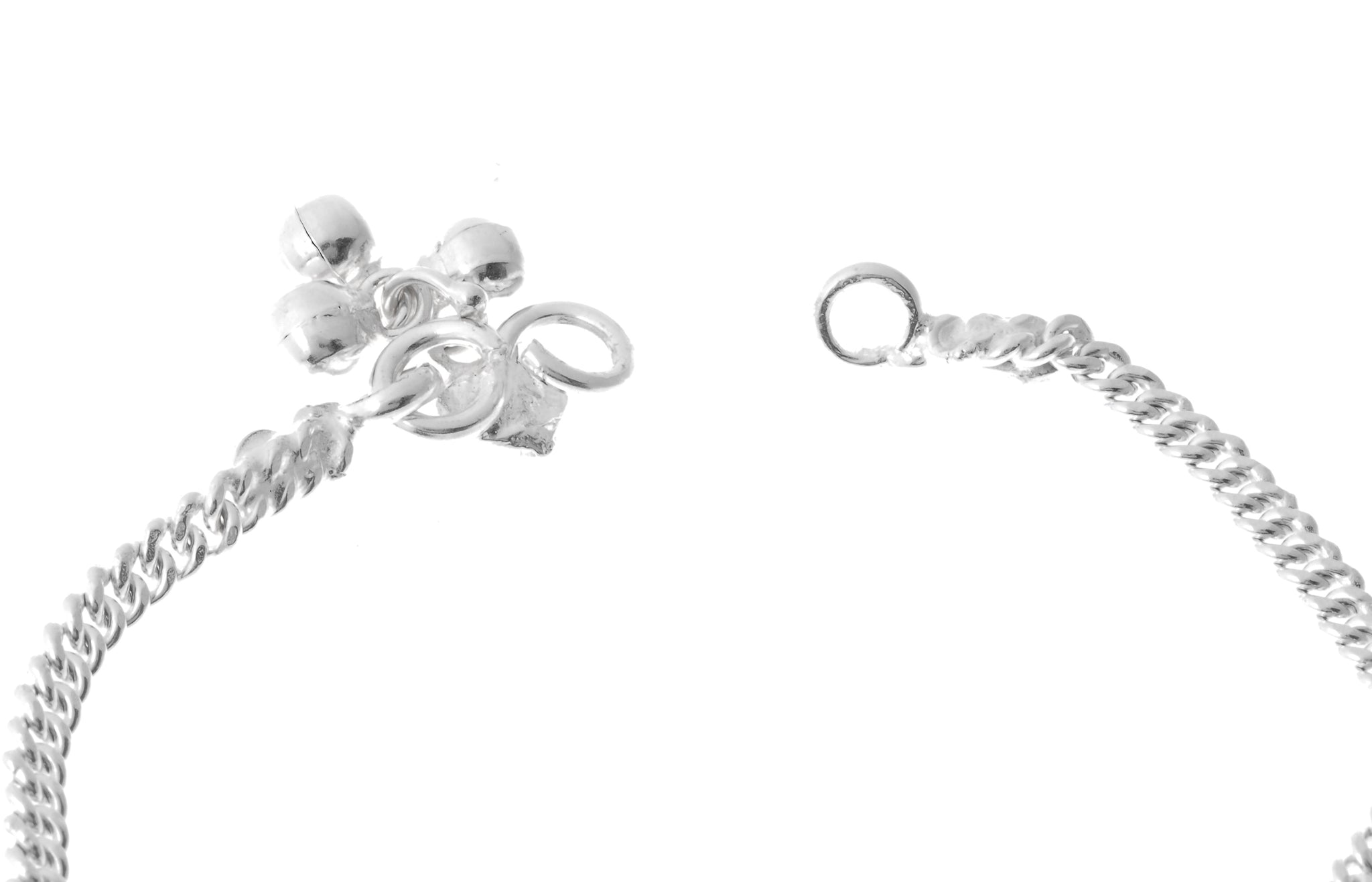 Sterling Silver Anklets with Ghughri Bell Charms for Children (A-7152) - Close Up_2