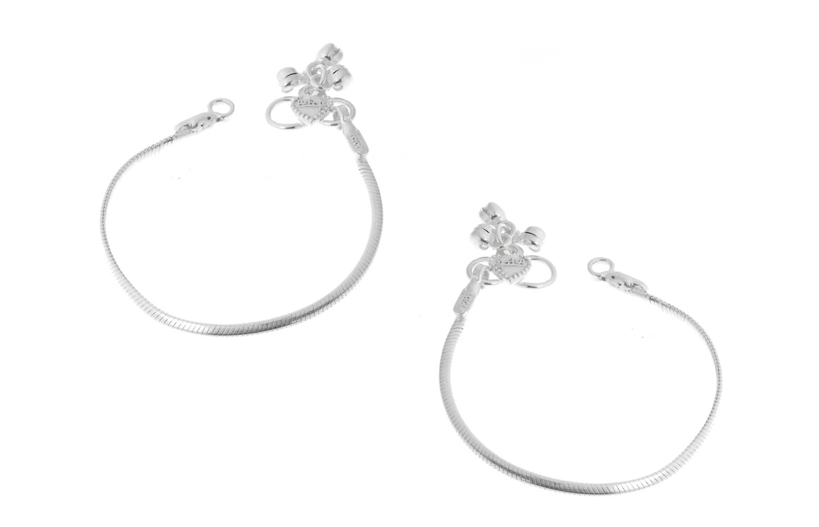 Silver Baby Anklets with Ghughri Bell Charms for Children (A-7154)
