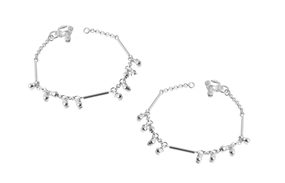 Silver Baby Anklets with Ghughri Bell Charms for Children (A-7155)
