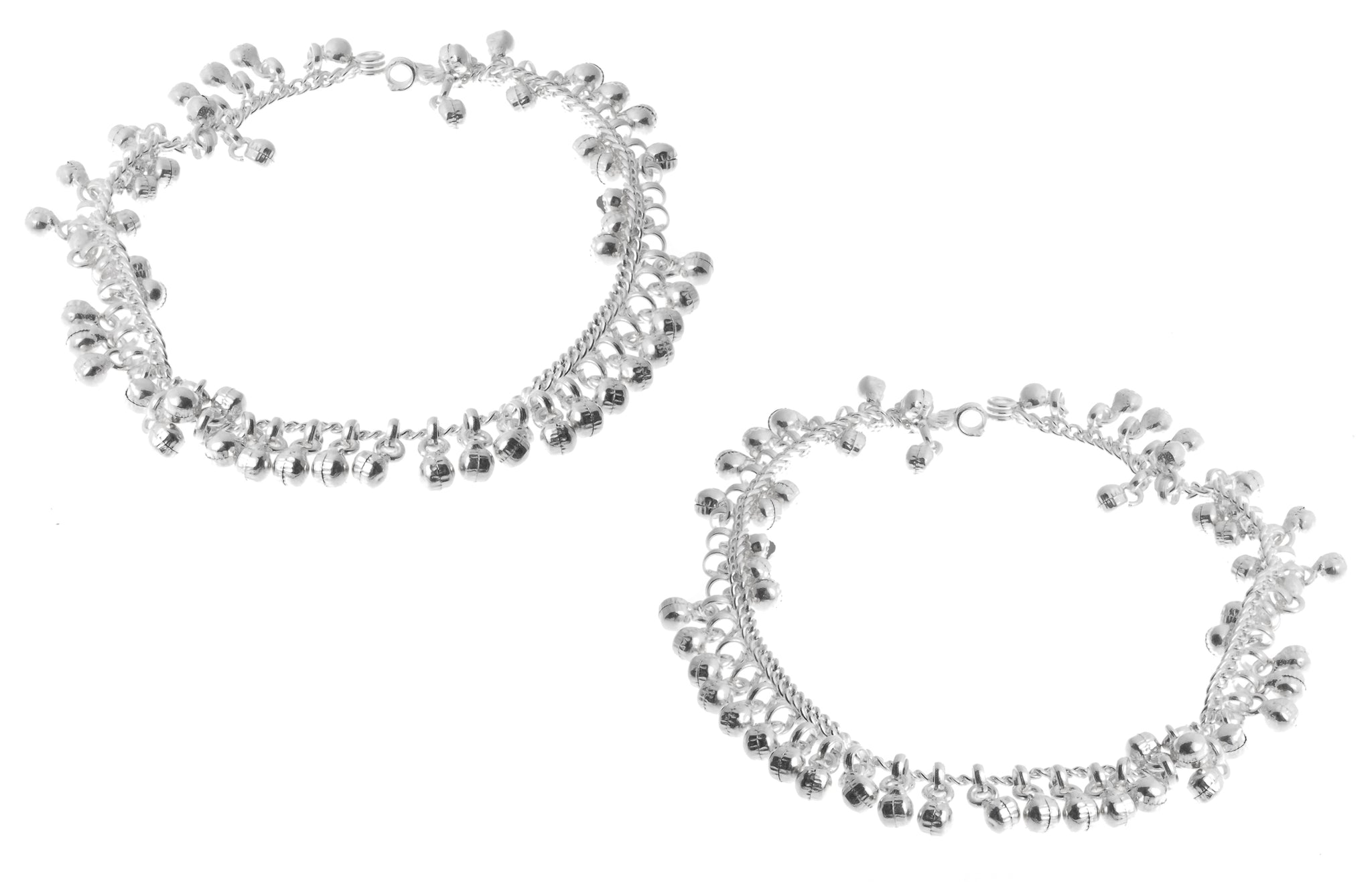 Silver Anklets with Ghughri Bell Charms A-7156 - Pair
